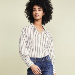 NWT Joie Minya Cream Blue Striped Button Blouse